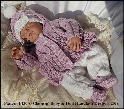 Hooded Lacy Pram Set 16-22 inch doll/prem-3m+ baby
