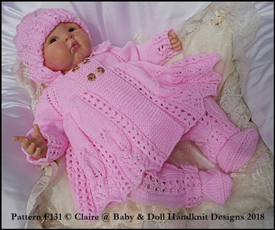 "Lacy Double breasted coat set 16-22"" doll/prem-3m+ baby"