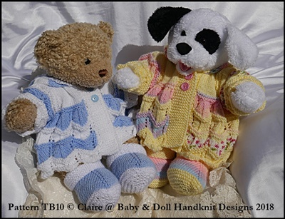 "Zig Zag Coat Set for 16"" Teddy or Bunny/Dog/Build a Bear animal"