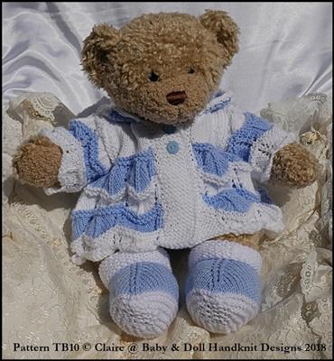 """Zig Zag Coat Set for 16"""" Teddy or Bunny/Dog/Build a Bear animal"""