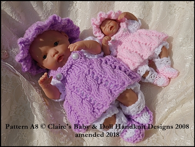 Lacy pinafore set for 4-8 inch dolls