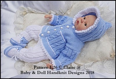 Picot edged Hoody Set 16-22� dolls/newborn/0-3m baby