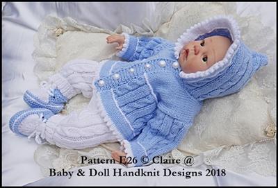 "Picot edged Hoody Set 16-22"" dolls/newborn/0-3m baby"