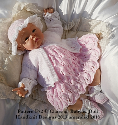 Lacy Dress & Bobble Edged Jacket Set 16-22 inch doll/0-3m baby