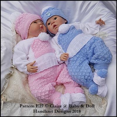Bobble Hat Motif Set Set 16-22 inch dolls/newborn/0-3m baby