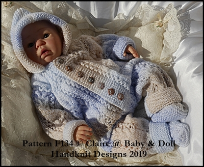 Cabled All in One and Socks Set for 16-22 inch doll/preemie – 3m+ baby