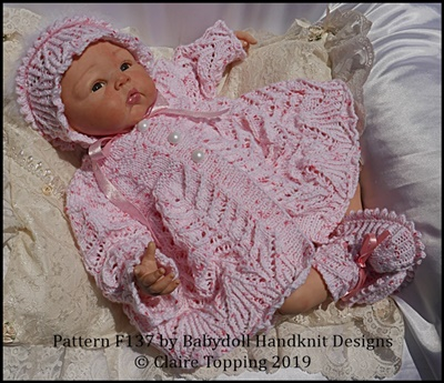 Vintage Style Lacy Matinee Set to fit 16-22 inch dolls/preemie-3m+ baby