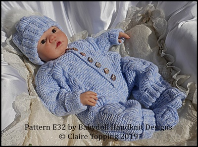 Cosy Cabled All-in-one set 16-22 inch doll/preemie – 3m+ baby