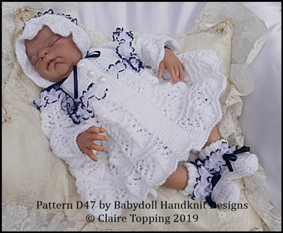 Lacy  Matinee Set for 15-20� doll (preemie-newborn baby)