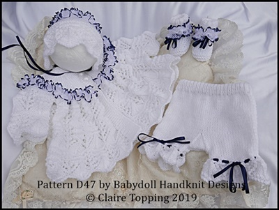 "Lacy  Matinee Set for 15-20"" doll (preemie-newborn baby)"