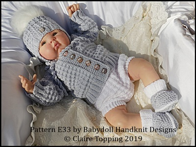 Jacket & Nappy Cover set 16-22 inch dolls/newborn/0-3m baby