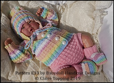 Jacket & Nappy Cover set 16-22 inch dolls/newborn/0-3m baby