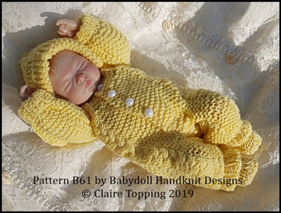 Hooded Cabled all in one for 7-12 inch doll