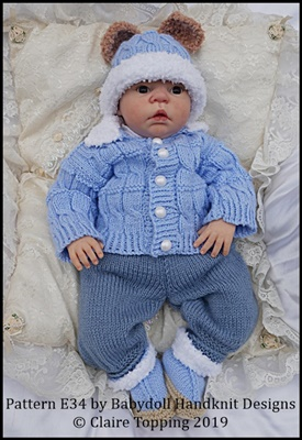 Fur Edged Cabled Pram Suit 19-22 inch doll/newborn/0-3m baby