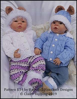 Fur Edged Cabled Pram Suit 19-22 inch doll/newborn/0-3m baby