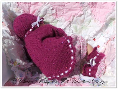 Lacy Edged Summer Jacket Set 17-22 inch doll/newborn/0-3m baby