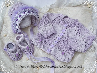 New baby girl gift set cardigan, bonnet and shoes for premature/newborn/0-3m baby/14-22� doll-baby, cardigan, bonnet, shoes, knitting pattern, babydoll handknit designs