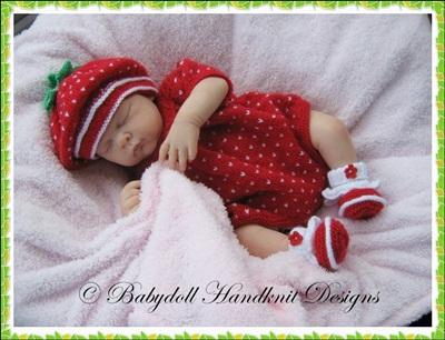 Strawberry Romper Set 17-22 inch doll/0-3m baby