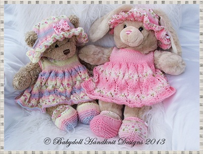 Dress & Floppy hat Set for 16 inch Teddy/Build a Bear Animal