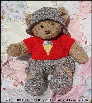 "Summer Motif Set for 16"" Teddy Bear/Bunny/Dog etc-teddy bear, knitting pattern, build a bear clothes"