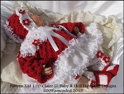 Christmas Tree Motif Matinee Set 17-24 inch doll/0-3m