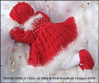Festive Girl's outfit 16-24 inch dolls/0-3m baby