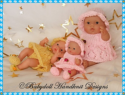 Summery Angel top set for Chubby 5&8 inch Berenguer dolls-knitting pattern, berenguer doll, chubby doll, angel top, pants, sunhat