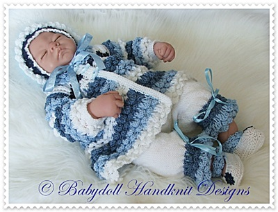 Hyacinth Pattern Matinee Set 16-22 inch dolls/0-3m baby