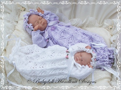 Lacy Bunting & Bonnet 9-14 inch doll/preemie baby