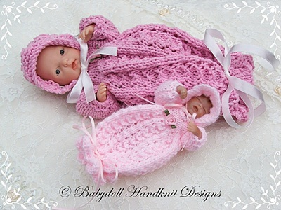 Lacy Bunting & Bonnet 4-8 inch doll