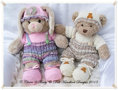 Buttoned Shorts & T-shirt Set for 16 inch Build a Bear Bunny/Teddy/Dog
