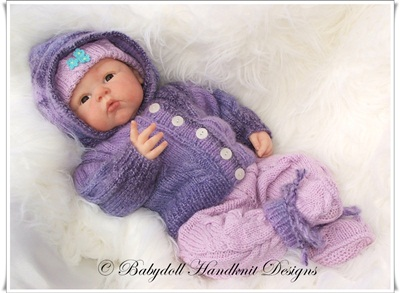 Cabled Hooded Pram Suit 16-22 inch doll/0-3m baby