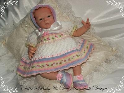 Lacy Layered Dress Set 17-22 inch doll/newborn/0-3m baby