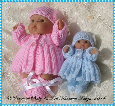 Pleated Coat Set for 5 & 8� Chubby Berenguer dolls-babydoll handknit designs, berenguer, lots to love, knitting, knitting pattern