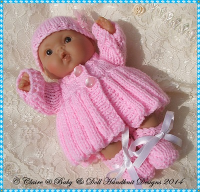 Pleated Coat Set for 5 & 8 inch Chubby Berenguer dolls