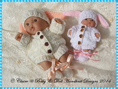 Bunny Set for 5 & 8� Chubby Berenguer dolls-knitting pattern, doll, chubby berenguer, berenguer, lots to love