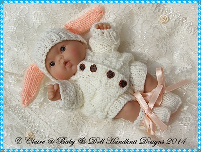 Bunny Set for 5 & 8 inch Chubby Berenguer dolls