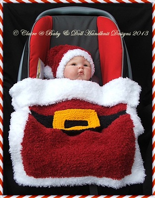 Christmas Car Seat Blanket & Hat 0-9m baby/car seat