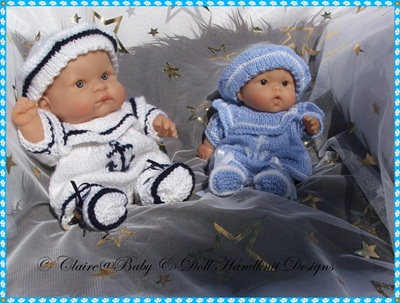 Sailor Romper Set 8 & 10 inch Chubby Berenguer Doll-chubby berenguer,sailor, romper, baby, doll