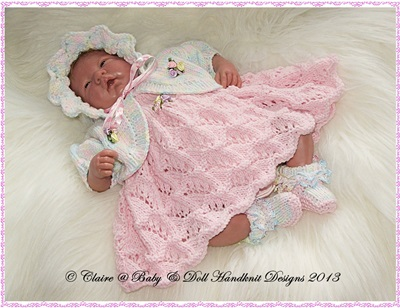 Dress & Bolero Set for 10-16� doll/preemie baby-babydoll handknit designs, knitting pattern, doll, preemie, baby
