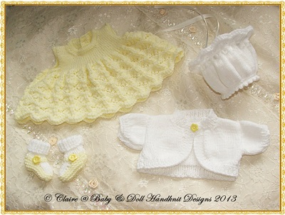 Dress & Bolero Set for 10-16 inch doll/preemie baby