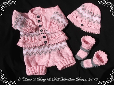 Fairisle Shorts and Jacket Set 16-22 inch doll/0-3m baby