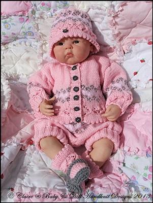 Fairisle Shorts and Jacket Set 16-22 inch doll/0-3m baby-