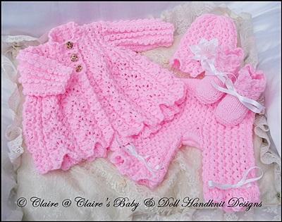 Chain Stitch Matinee Set 16-22 inch doll (preemie-3m+ baby)