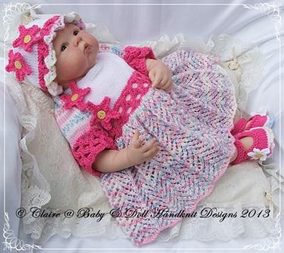 Floral Dress Set Set 16-22 inch doll/prem/newborn/0-3m baby
