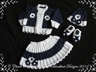 Floral Skirt & Jacket Set 16-22 inch doll/prem-3m+ baby