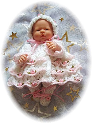Frilly Layered Matinee Set 7-12 inch doll