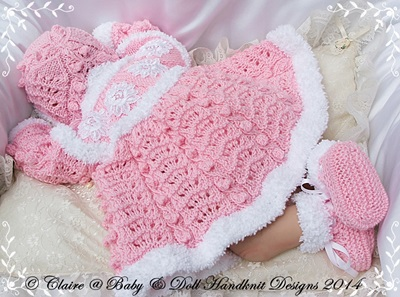Fur Coat, bonnet & bootees 19-22 inch doll/newborn/0-3m baby