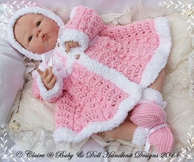 Fur Coat, bonnet & bootees 19-22 inch doll/newborn/0-3m baby