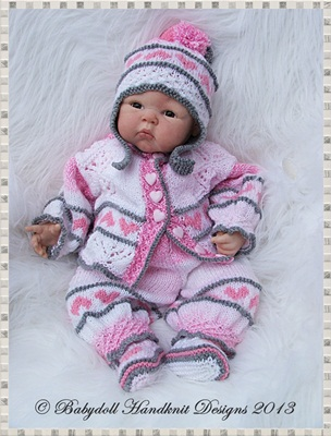 Heart Motif Pram Suit 16-22 inch doll/newborn/0-3m Baby